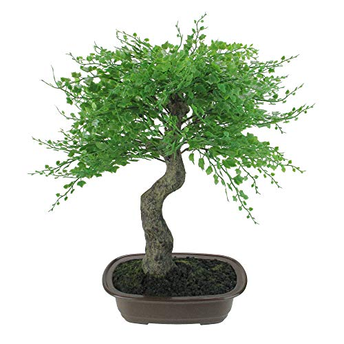"Northlight 16"" Green Mini Maple Artificial Bonsai Tree in a Brown Pot"