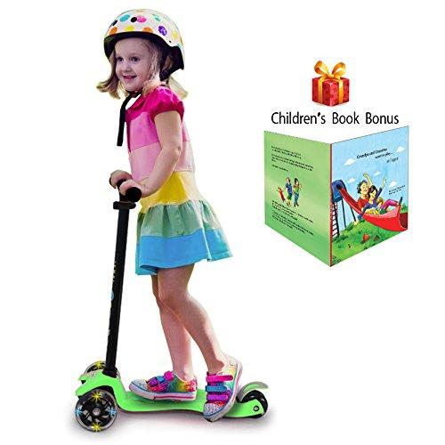 3 Wheel Kick Scooter. For Kids 2-12 Years, Premium Aluminum, Adjustable Height, PU Wheel with LED Rear Lights. 4 Years Warranty.(Neon green + Bonus Book Children) -