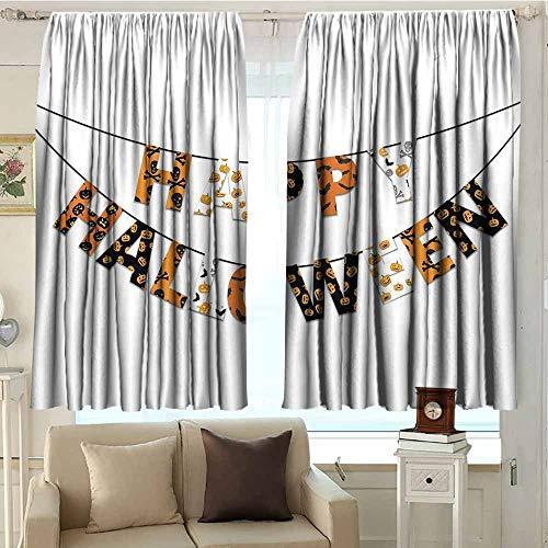 DuckBaby Halloween Bedroom Windproof Curtain Happy Halloween Banner Greetings Pumpkins Skull Cross Bones Bats Pennant Noise Reducing W96 xL72 Orange Black White