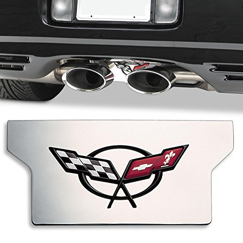 Corvette Exhaust Plate - Polished Stainless Steel with C5 Logo : 1997-2004 C5 & Z06