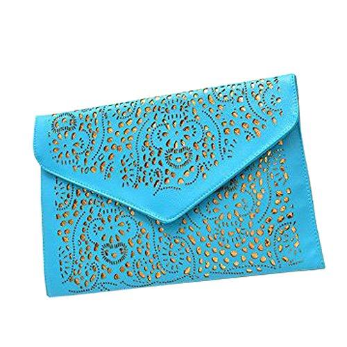 (Top Shop Womens Envelope Chain Totes Messenger Shoulder Bags Handbags Hobos Blue Clutches)