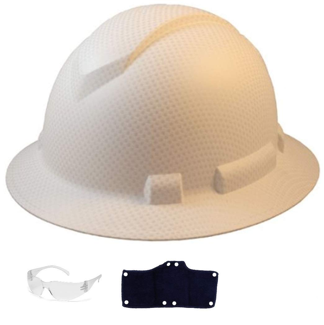 Full Brim Hard Hat with Standard Ratchet Suspension Color Matte White by Acerpal