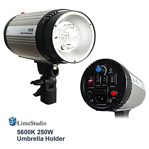 LimoStudio 250 Watt Digital Strobe Flash Light and Umbrella Reflector Holder, Modeling Photographic Flash, Wire Sync or Wireless Radio Trigger, Photo Studio Kit, AGG1908 by LimoStudio