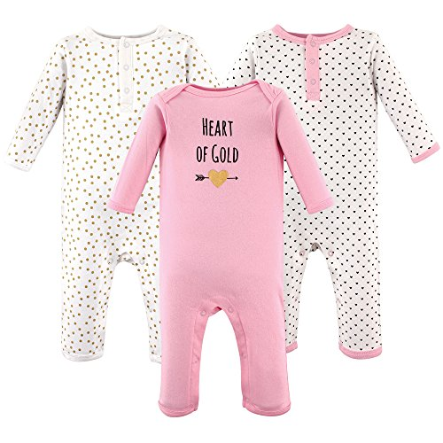 Hudson Baby Cotton Union Suits, 3 Pack, Heart of Gold, 3-6 (Baby Sleeper)