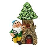 Solar Garden Decor Gnome With Tree Stump Statue, Green