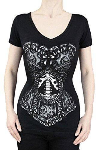 Camiseta Corsé con Estampado de Esqueleto Restyle