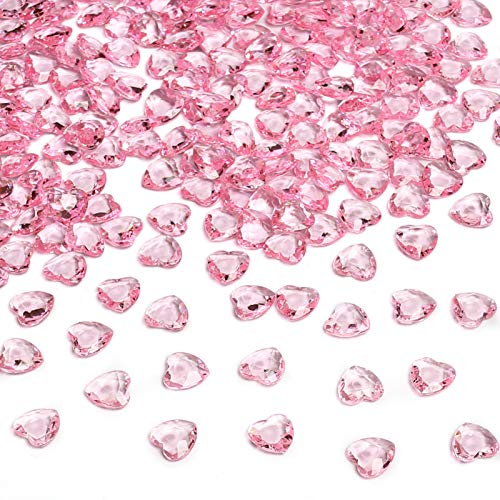 HAKACC Heart-Shaped Acrylic Diamonds, 1000 PCS Pink Wedding Table Crystals Heart Shape Gems Table Decorations for Wedding Day