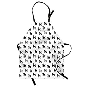 Lunarable Dogs Apron, Poodle Puppy Silhouette Animals in Monochrome Minimalist Design, Unisex Kitchen Bib with Adjustable Neck for Cooking Gardening, Adult Size, White and Black 1