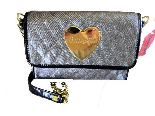 Betseyville by Betsey Johnson QUILTED SILVER Crossbody Metallic Evening Bag, Purse