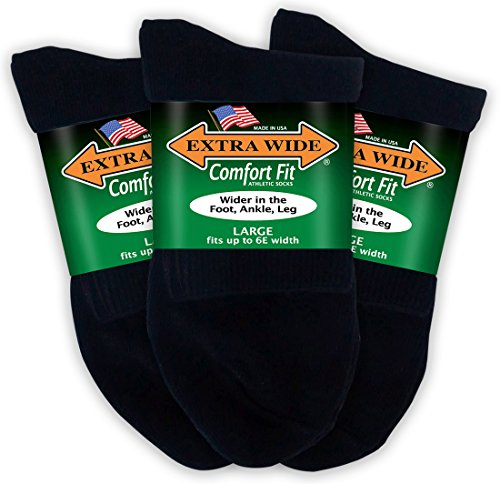 Extra Wide Comfort Fit Athletic Quarter (Anklet) Socks for Men - Black - Size 12-16 (up to 6E wide) - 3PK