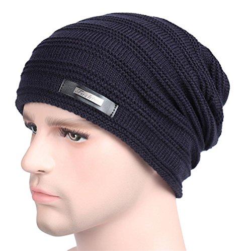 YANXH El nuevo El hombre que hace punto el casquillo más otoño grueso y el invierno al aire libre guardan el sombrero caliente del oído del cuidado , black navy