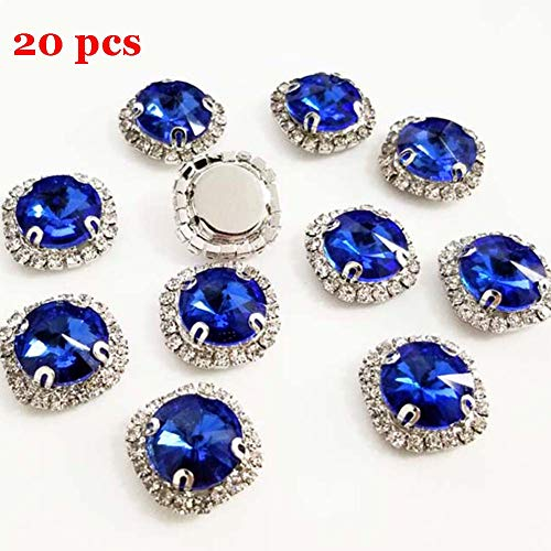 Flat Back Rhinestones Buttons Embellishments with Diamond, Sew On Crystals Glass Rhinestone for Clothing Wedding Bouquet(20pcs) Royal Blue