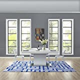 Modway R-1015A-810 Nahia Geometric Maze 8x10 Area Rug, Twin, Ivory/Light Gray and Blue
