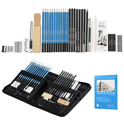 - Charcoal Drawing Set 41 Pcs, Magicfly Art Pencils for Drawing and Shading with Sketch Book, Kit Bag, Tools, Erasers,Pro Graphite Pencil Sketch Set for Drawing
