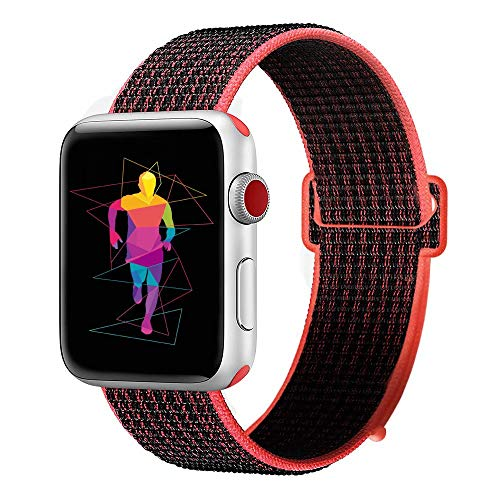 INTENY Sport Band Compatible with Apple Watch 38mm 40mm, Nylon Sport Loop, Strap Replacement for iWatch Series 4, Series 3, Series 2, Series 1 (Red Black, 38mm 40mm)