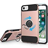 iPhone 7 Case, iPhone 6s Case, iPhone 6 Case, MaiKuo 360 Degree Rotating Ring Grip kickstand Heavy Duty Shockproof Anti-Scratch+Tempered Glass Screen Protector Cover Skin for Apple 4.7 Inch_Rose Gold