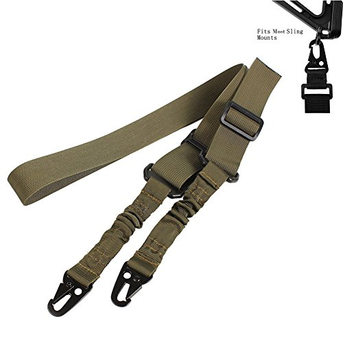 Rope Deployment Carry Bag (Tactical 2 Point Gun Sling Rifle with Adjustable Slings Cord Shoulder Strap Two Point Military Army Heavy Duty Airsoft Nylon for Outdoor Sports,Hunting (Olive Green))