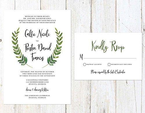 Greenery Wedding Invitation, Leaves Wedding Invitation, Garden Fern Wedding Invitation, Romantic Garden Wedding by Alexa Nelson Prints
