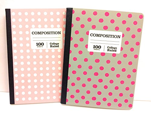 Pink & White and Gray & White Polka Dot Norcom Wide Ruled Composition Notebooks ~ Pack of 2