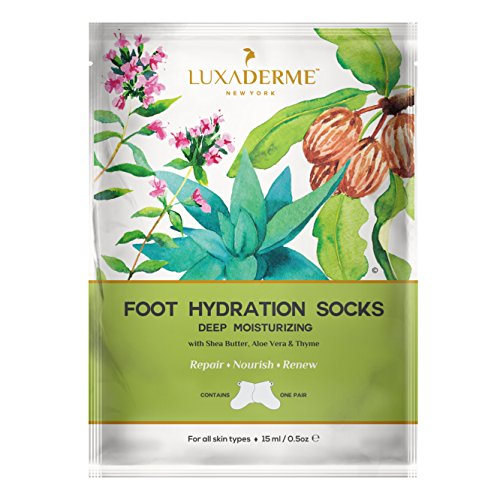 LuxaDerme Deep Moisturizing - Foot Hydration Socks (Pack of 1) Infused with essence containing Shea Butter, Allantoin, Botanical Extracts & Antioxidants for soft, smooth & supple feet Moisture Foot Socks