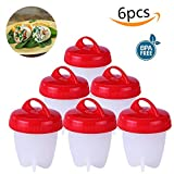 Egg Cooker Hard Boiled Egg Cooker Without Shell Cooking Egg cookers Food Grade Silicone Non Stick Silicone Poacher Egg Cooker,Singerhuas Egg Boiler No Shell,Boiled Egg Maker 6 Egg Cups (6pcs)