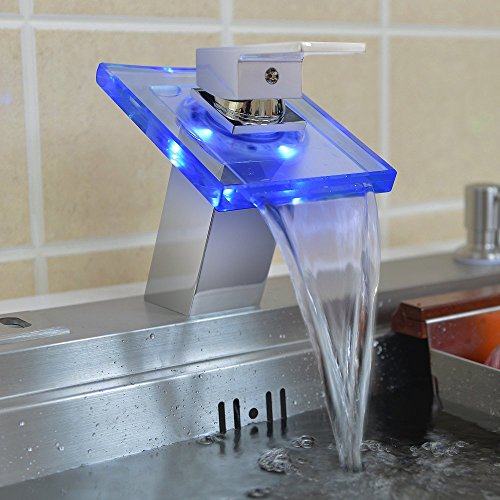 hot sale Harrahs 1002 No Battery Water Power Waterfall Bathroom Sink Faucet Deck Mount Color Changing Light LED Glass Spout Chrome Finish