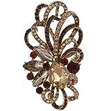 EVER FAITH Austrian Crystal Flower Ribbon Teardrop Brooch Pendant