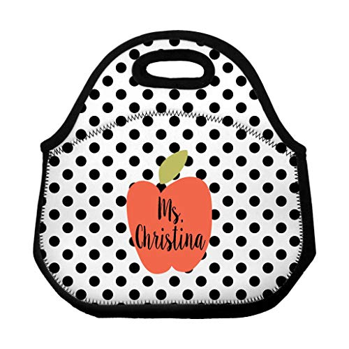 Teacher Apple Personalized School Lunch Tote/Teacher Custom Lunch Bag/Lunch Sack/Personalized Polka Dots Neoprene Zippered Lunch Bag