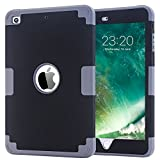 iPad Mini 2 Case - iPad Mini Case - iPad Mini 3 Case - iPad Mini Retina Case - BENTOBEN Anti-slip Shock-Absorption Silicone PC High Impact Resistant Hybrid Three Layer Armor Protective Case Cover Black&Gray