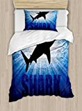 Ambesonne Shark Duvet Cover Set Twin Size, Underwater Hunter Phrase Fish Silhouette in the Ocean Danger in Marine Picture, Decorative 2 Piece Bedding Set with 1 Pillow Sham, Royal Blue Black