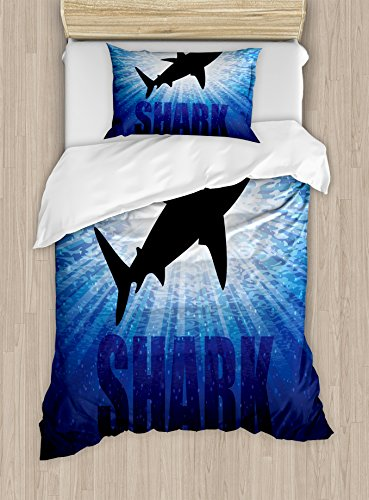 Ambesonne Shark Duvet Cover Set Twin Size, Underwater Hunter Phrase Fish Silhouette in The Ocean Danger in Marine Picture, Decorative 2 Piece Bedding Set with 1 Pillow Sham, Blue Black