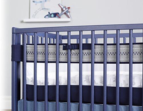 Just Born Retro Ride Fresh Air Crib Liner, Navy/Light Blue (Omega Bumper)