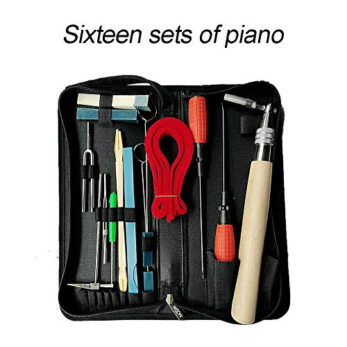 Piano Tuning Kits, UMsky Professional 16 Pieces Piano Tuning Tools Including Tuning Hammer Lever Felt , Mutes,Wrench Hammer ,Tuning Fork,Handle Kit Tools and Case for Tuner