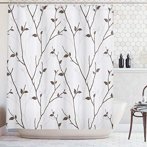 (Ambesonne Leaves Decor Collection, Branches in the Fall Trees Stem Twig with Last Few Leaves Minimalistic Design Art, Polyester Fabric Bathroom Shower Curtain Set with Hooks, Brown)