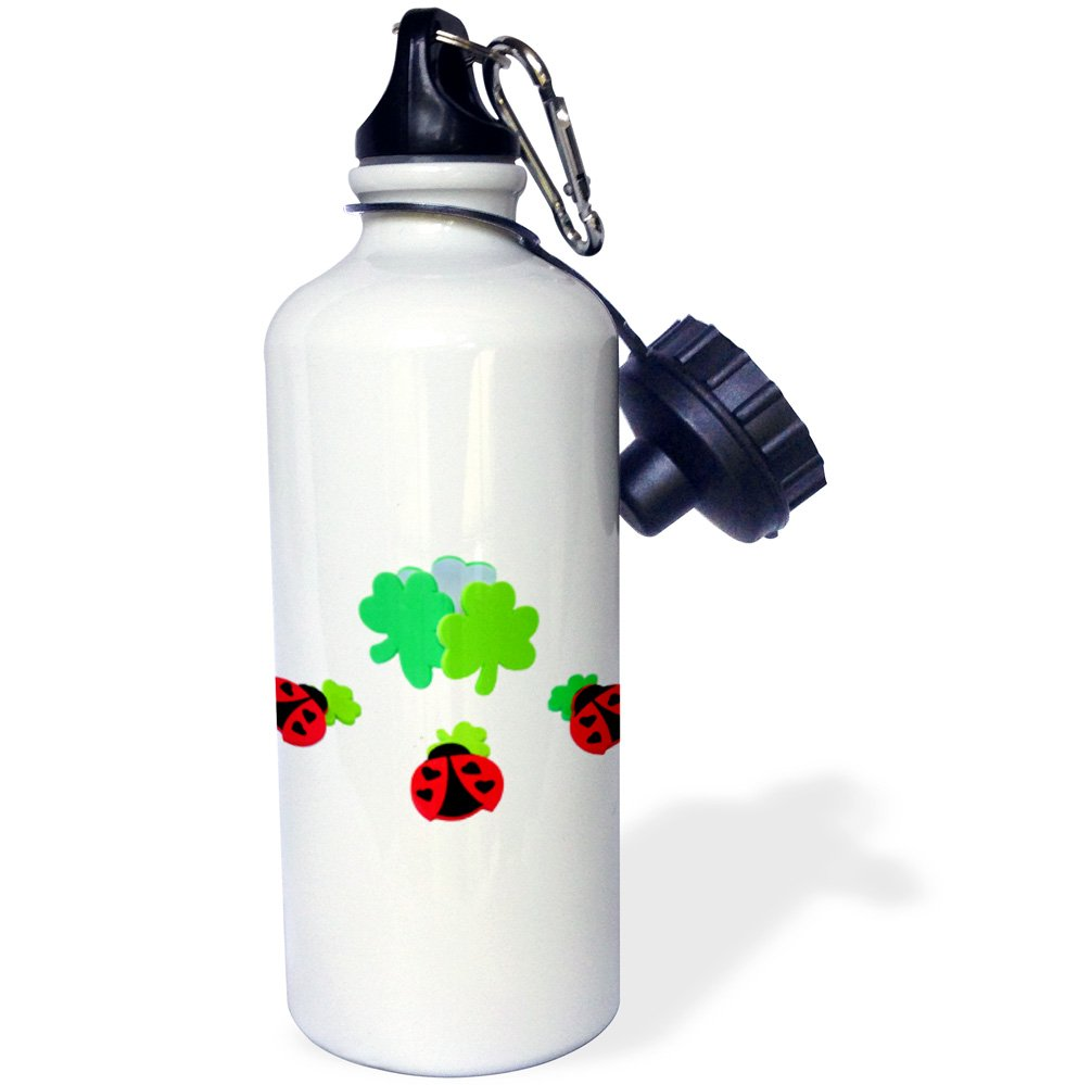 21 oz Patricks Day Sports Water Bottle 3dRose wb/_221465/_1Ladybugs with clovers for St White