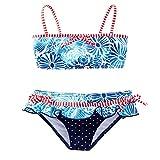 Azul Baby Girls Blue Red Floral Dot American Dream 2 Pc Skirted Bikini 18M
