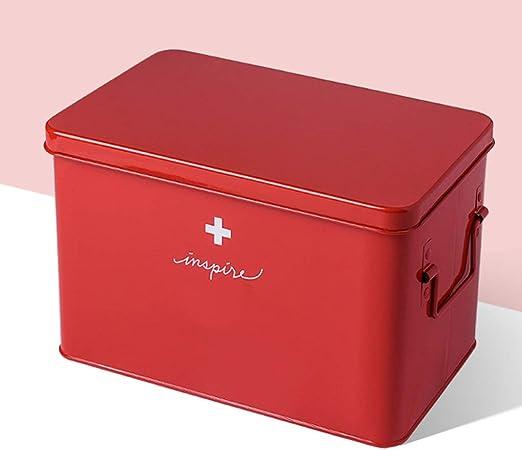 XXFFD Caja de Almacenamiento de medicamentos de Doble Capa Botiquín de Primeros Auxilios Caja de Almacenamiento de medicamentos Caja de Almacenamiento de medicamentos de Metal for Oficina Hogar Viaje: Amazon.es: Hogar