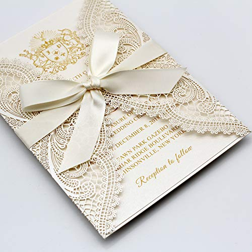 Picky Bride 25-Pack Ivory Laser Cut Lace Wedding Invitations Wraps with Shimmer Insert and Ribbon Bow, Elegant Invite Cards for Wedding/Bridal Shower/Birthday Party, 125 x 185mm (25 Invitations)