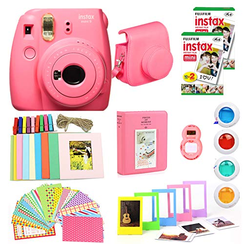 Fujifilm Instax Mini 9 Instant Camera(Certified Refurbished) + Fuji Instax Film (40 Sheets) + Carrying Case, Photo Album, Stickers, Close Up Lens + More (Flamingo Pink)
