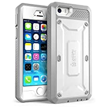 iPhone 5S Case SUPCASE Heavy Duty Belt Clip Holster iPhone 5S Case Compatible with iPhone 5 Unicorn Beetle PRO Full-body Rugged Hybrid Protective Cover with Built-in Screen Protector (White/Gray)