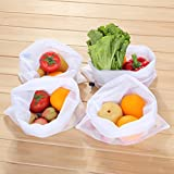 Reusable Produce Bags - White Color Mesh Bags - for Fruit and Vegetables by MIU COLOR