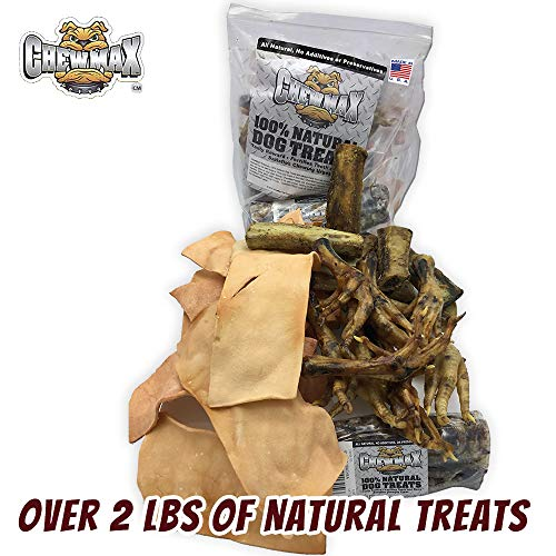 0.5 Bone - ChewMax Variety Pack Includes 10 Roasted Chicken Feet, 1 Beef Trachea, 1 Lb Beef Rib Bones, 1/2 Lb Bacon Flavored Free Range Rawhide Chips All 100% Natural. Over 2 Lbs of Treats