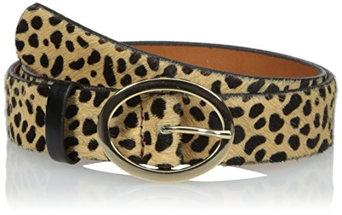 Leather Print Belt (Circa Women's Leopard Printed Haircalf Belt with Oval Buckle, S)
