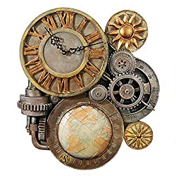 Design Toscano Gears of Time Steampunk Wall Clock Sculpture, Medium 17 Inch, Polyresin, Full Color