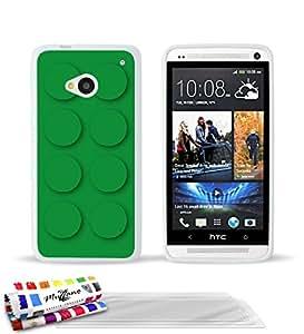 Carcasa Flexible Ultra-Slim HTC ONE / M7 de exclusivo motivo [Green brick] [Blanca] de MUZZANO + 3 Pelliculas de Pantalla UltraClear + ESTILETE y PAÑO MUZZANO® REGALADOS - La Protección Antigolpes ULTIMA, ELEGANTE Y DURADERA para su HTC ONE / M7