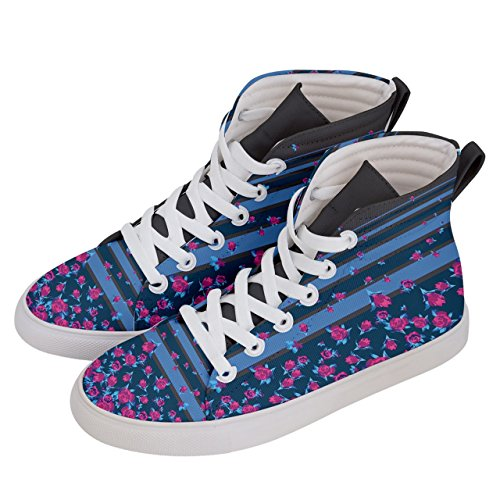 CowCow Womens Sneaker High Top Shoes with Stripes & Flowers Patterns, Sizes: US5 - US10.5 Blue & Pink