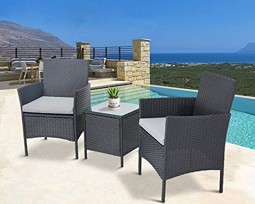 Oakmont Outdoor 3-Piece Rattan Wicker Furniture Black Conversation 2 Chairs with Glass Top Coffee Table Sets Light Gray Cushions Backyard, Pool, Garden