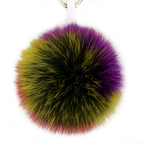 ur Ball Pom Pom Keychain for Bag Charms with Removable Leather Strips (Colorful) ()