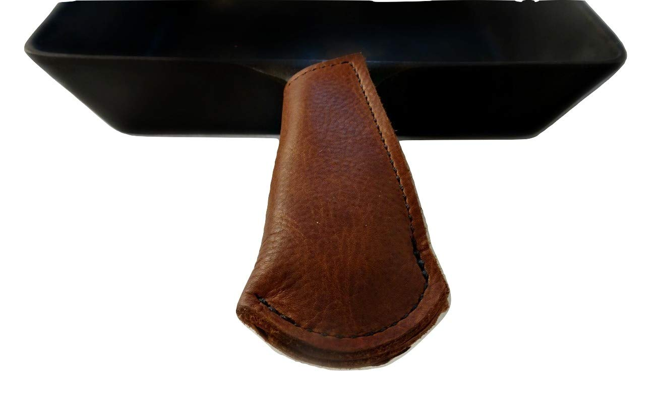 Primehomeproducts Amish Leather Cast Iron Skillet Handle Cover Brown