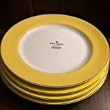 (4) KATE SPADE RUTHERFORD CIRCLE YELLOW PATTERN DINNER PLATES 11.2'' ~NEW~